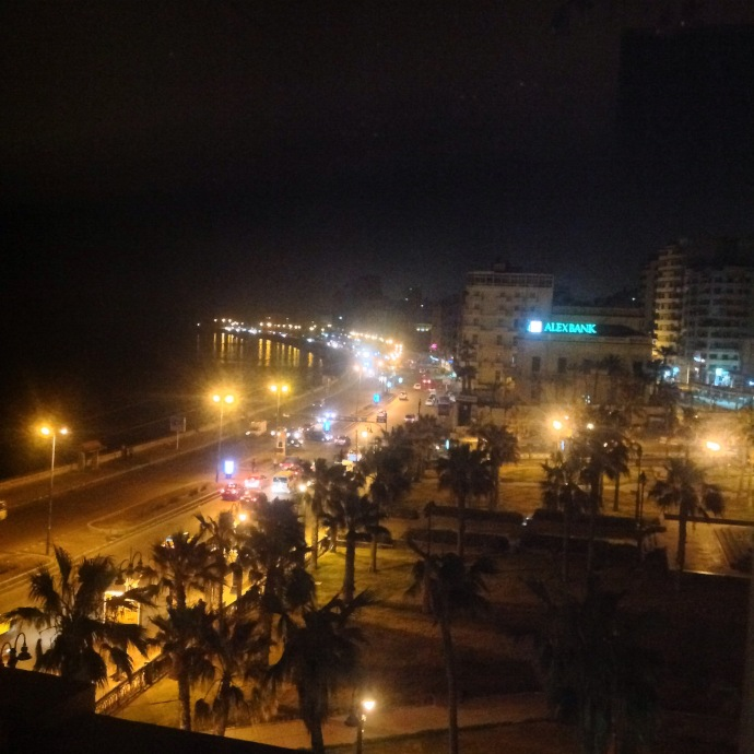Ramleh Square and the Corniche at night